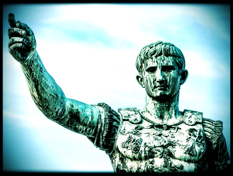 A statue of Augustus Caesar in front of the site of the Forum of Augustus, Rome, Italy.