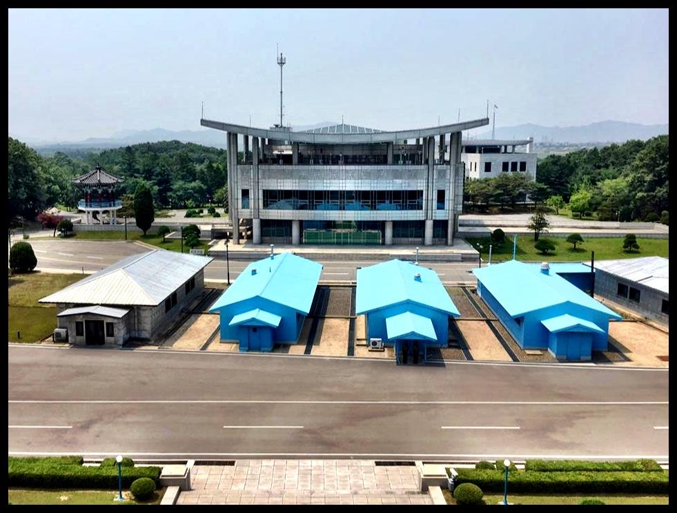 Die DMZ, oftewel die gedemilitariseerde sone tussen Noord- en Suid-Korea.