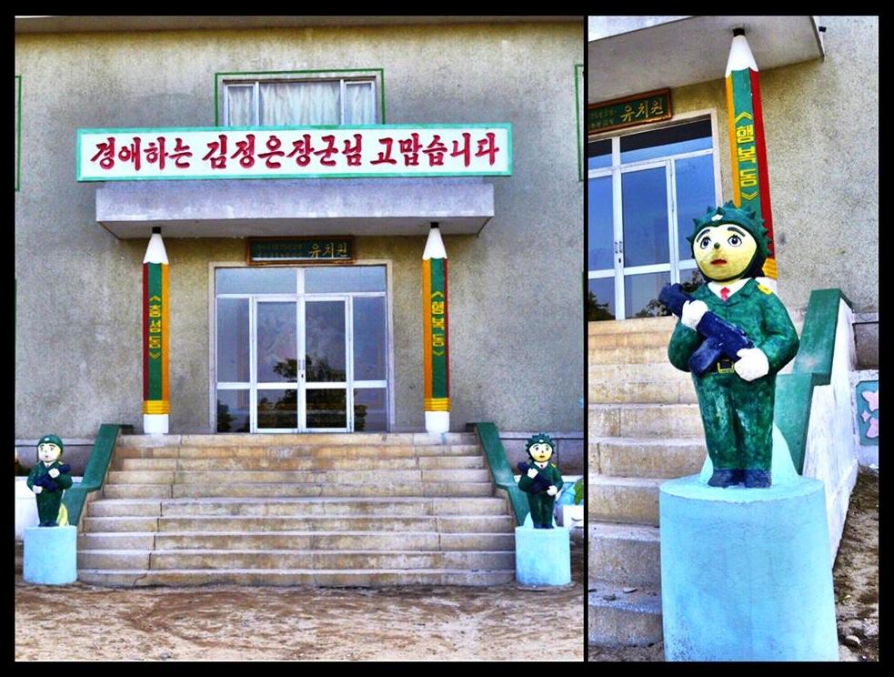 Die kleuterskool by Wonsan wat met gewapende beertjies voor die ingang spog.