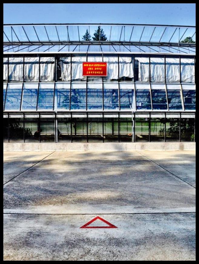 Een van tientalle rooi driehoekies wat aandui waar een van Die Leiers gestaan het toe hulle gefotografeer is.