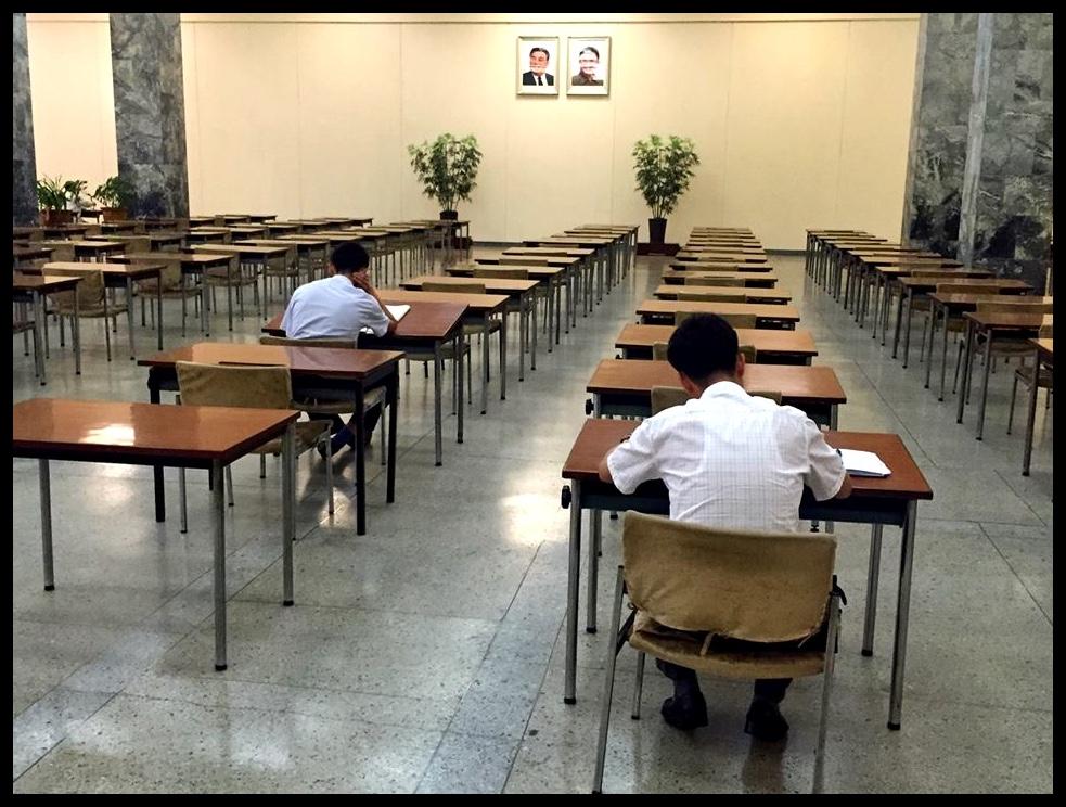 """Só word die """"study"""" in die Grand People's Study House gesit – onder die waaksame oë van die Dierbare Leiers."""