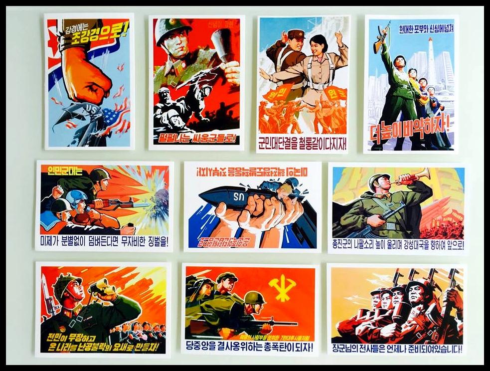 """'n Versameling van die poskaarte wat ek uit Noord-Korea gestuur het. Ek dink 'n mens kan met redelike sekerheid sê dat die """"US Imperialists"""" nie dié ouens se gunstelinge is nie."""